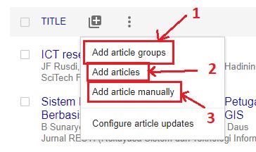 Tambah Artikel Google Scholar